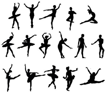 ballet dancer silohuettes set 免版税图像