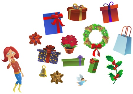 ind�cis: femme ind�cise debout pr�s de quelques cadeaux Banque d'images