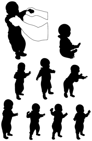 set of baby silohuette walking for the first time Vector