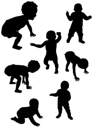 position d amour: ensemble de silohuette bébé marche pour la première fois Illustration