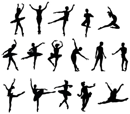 ballet dancer silohuettes set Vector