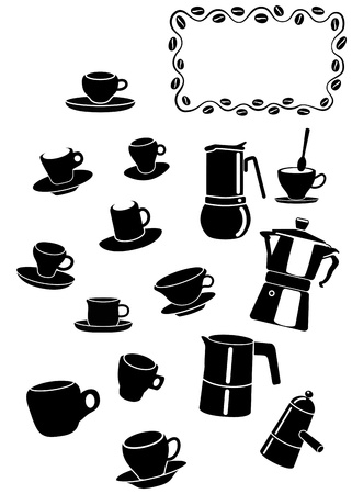 coffee cups and coffee maker set Stock Vector - 12495773