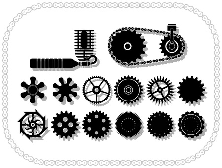 wheels and mechanisms silouhettes inside a bycicle chain frame. Shadows layered. Stock Vector - 12495775