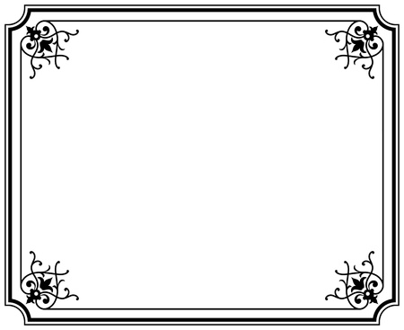 cadre noir et blanc: ancien magasin �l�gant cadre noir et blanc Illustration