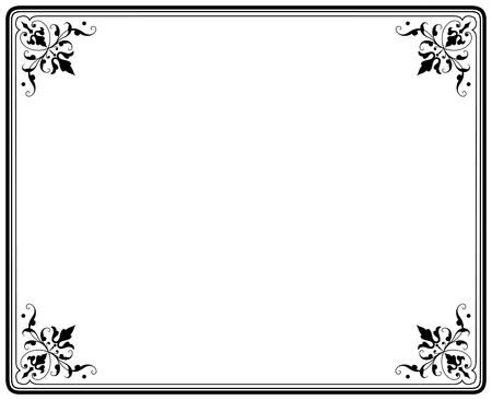 ornamental frame: old elegant black and white frame magasin