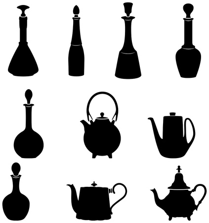vintage dishware: set of bottles and teapots silohuettes