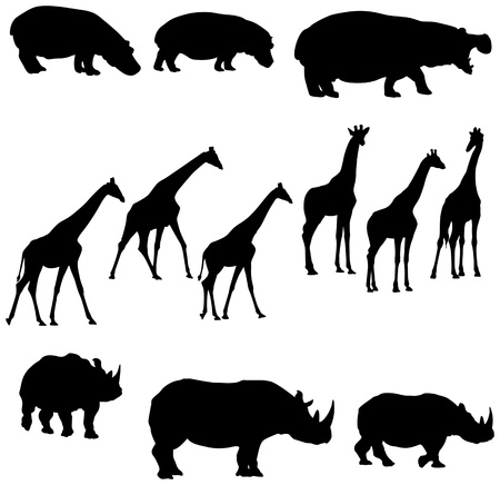 cool silohuettes of hippo giraffe and rhino  矢量图像