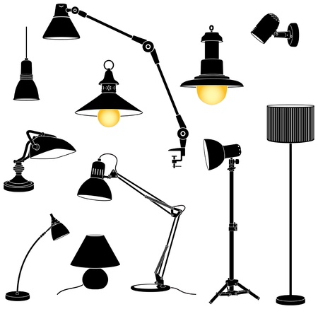 Het verzamelen van silohuette lamp Vector Illustratie