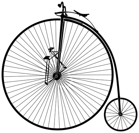 black and white old velocipede Stock Vector - 14660595