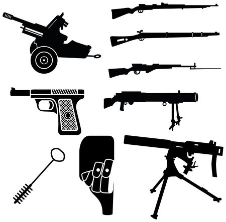 world wars: set of weapon silhouettes