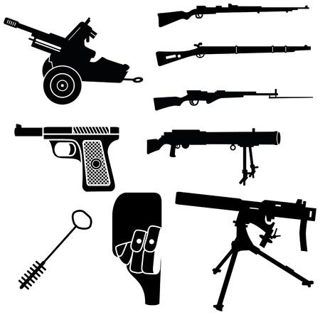 un conjunto de siluetas de armas