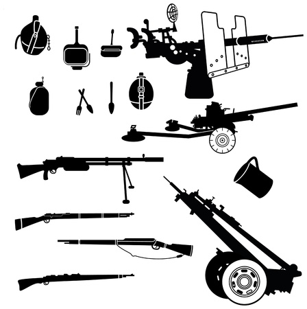 military silhouettes: weapon and artillery silhouettes set