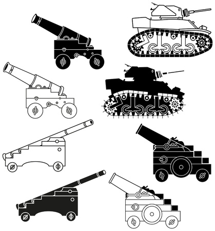 black and white cannon and tanks. Silhouettes and outlines  Illustration