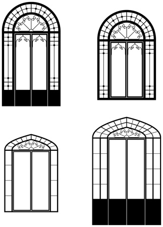 arched window and doorwindows. Black and white outlines Vector