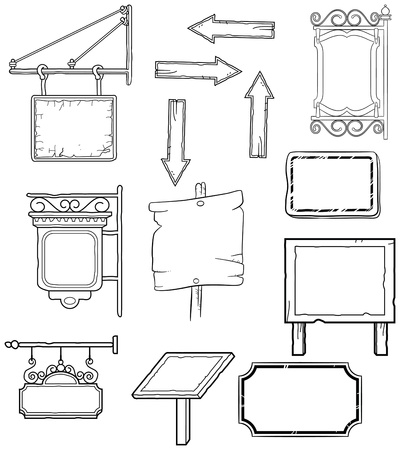 black and white worn signs waiting for words Vector