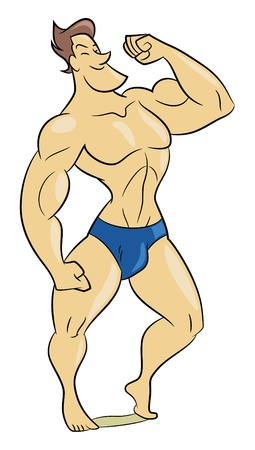 Cartoon style illustration of a muscle man