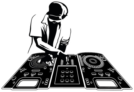dj headphones: Disk jockey in black silhouette  Console and character are separated and easily selectables Illustration