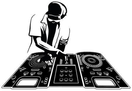 auriculares dj: Jinete de disco en la consola silueta de color negro y el carácter son separados y fácilmente selectables Vectores