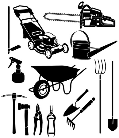 gardening tools: black and white silhouettes of a garden equipment Illustration