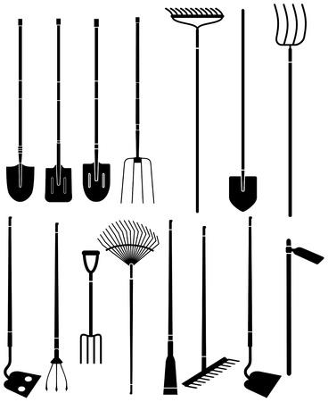 Silueta de un conjunto de herramientas de jardinería largas manejadas