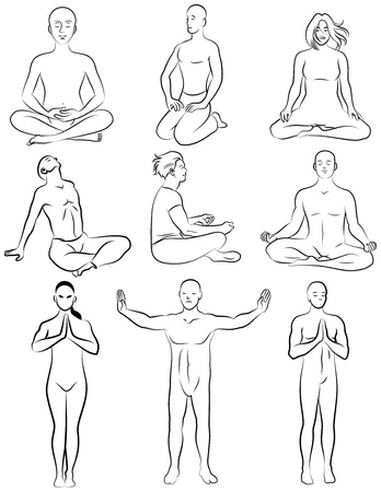 Black and white set of meditation poses  Characters are outline stylized Ilustração