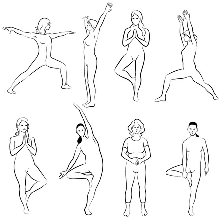 Black and white set of meditation poses  Characters are outline stylized Vector