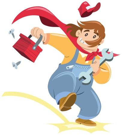 cartoon handyman appears with his tool case  flat colors without gradients Stock Vector - 16455789