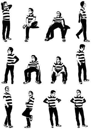 strip shirt: set of waiting men silhouettes  Each character is isolated, grouped and easily selectable