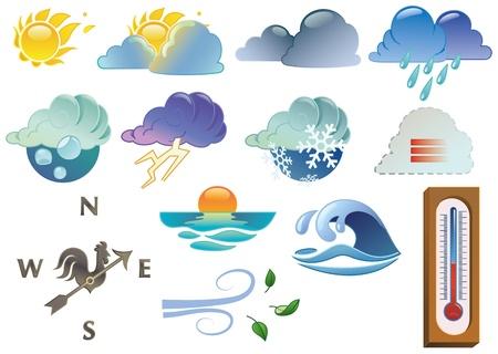 wiatrowskaz: symbole pogody, kolorowych gradientów liniowych tylko Każdy symbol jest zgrupowane i łatwo wybieralne