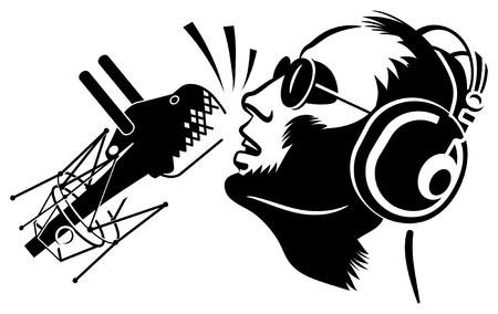 pop singer: Singer with microphone black silhouette Illustration