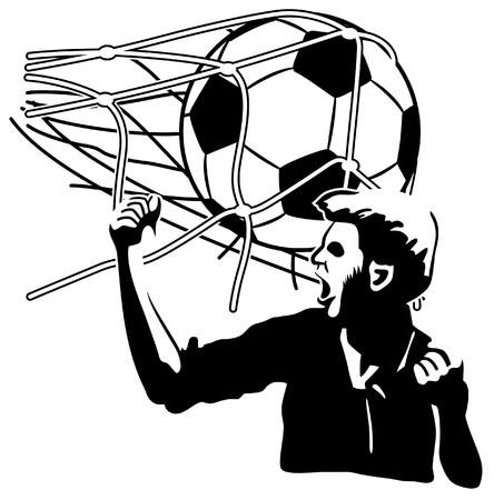 football silhouette: Football player exulting while the ball inflates the net