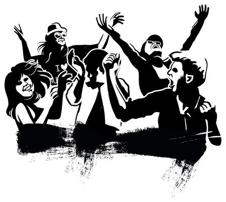 jubilant: Boys and girls dancing black silhouettes