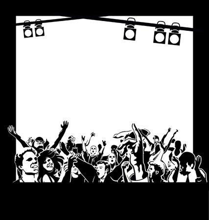 jubilant: Happy people dancing under the spotlights