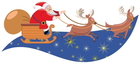 Santa claus sleigh pulled by reindeer Vector