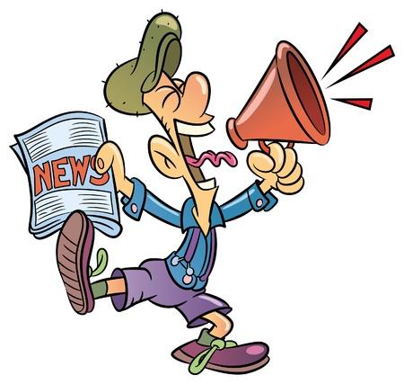 Paperboy giornali di vendita gridando attraverso megafono