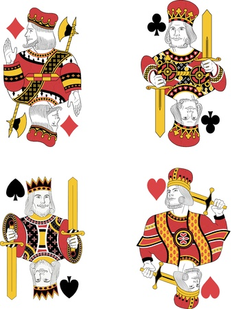 ace hearts: Four kings without cards. Original design Illustration