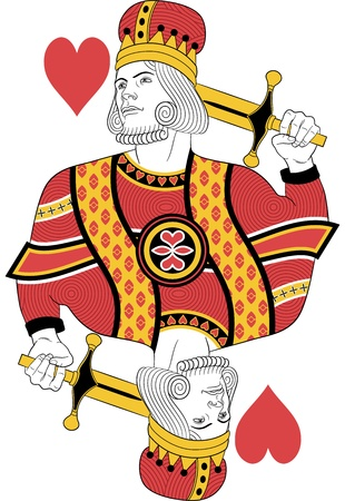 red and yellow card: Kings of hearts without card. Original design