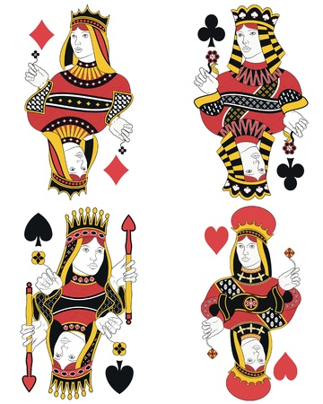 Four Queens without cards. Original design Vector