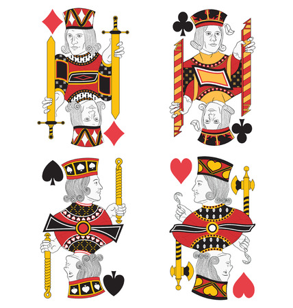 jack of hearts: Four Jacks without cards. Original design Illustration