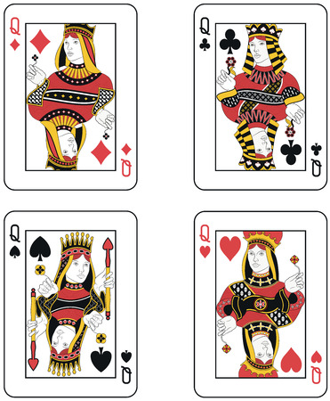 cartas de poker: Cuatro Queens. Diseño original
