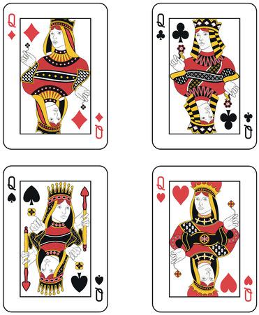Four Queens. Origineel ontwerp Stock Illustratie