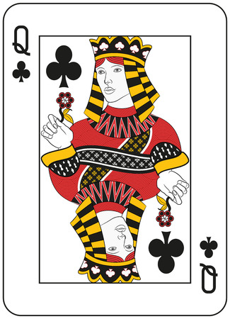 card game: Queen of clubs. Original design