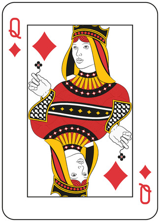 playing card: Queen of Diamonds. Original design Illustration