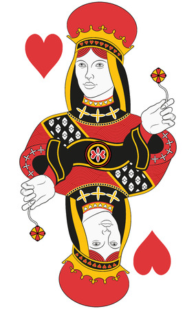 playing card set symbols: Queen of hearts without card. Original design