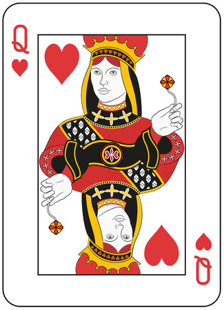 playing card: Queen of hearts. Original design