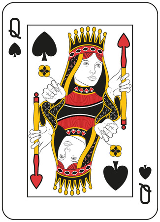 playing card set symbols: Queen of spades. Original design