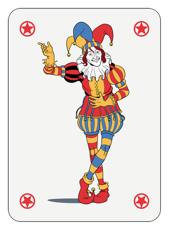 Joker in colorful costume playing card Vector