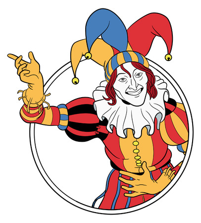 clown face: Jester coming out of circle