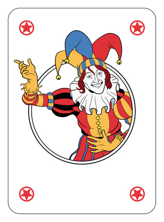 Joker coming out of circle playing card Reklamní fotografie - 25456250