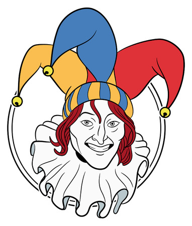 jester: Jester face in a circle Illustration